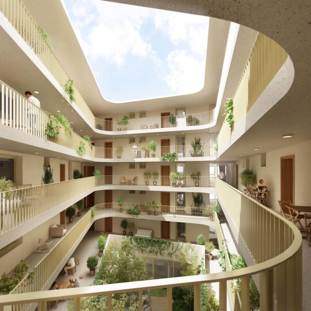 Rendering vom Atrium im Wohnbereich